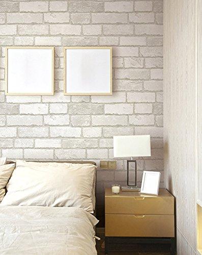 """Panel autoadhesivo con diseño de ladrillos para paredes, 50cm X 3m (19,6"""" X 118""""), 0,15mm, de PVC resistente al agua, ideal para cocinas, dormitorios reposicionable (Blanco)"""