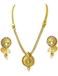 Suratdiamond Traditional Drop Shaped Colored Stone And Gold Plated Necklace Earring Fashion Jewellery Set For...