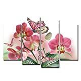WONZOM Pink Flower and Butterfly on Canvas Pictures Wall Art Prints Floral Decoration 4Pcs/Set (Frameless)