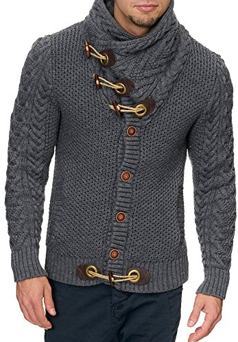 INDICODE Herren Strickjacke Fort Worth 35-166 35-166 S M L XL XXL Anthrazit