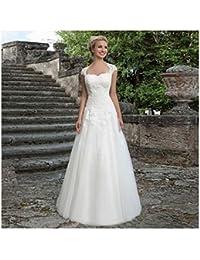 3a2f535771 JYL Vestido de Novia Vestido de Novia Vestido de Dama de Honor Hombro  Encaje Encaje Doble Longitud de Piso Vestido de Novia de Cola de Pescado…