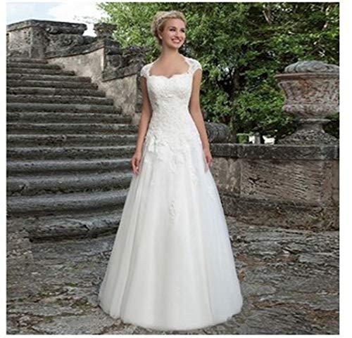 Jyl - abito da sposa con spalle scoperte, in pizzo, a coda di pesce, pure white, us:6 (l)