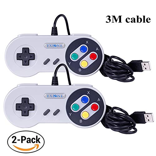 Exlene® Usb Controller Gamepads Joystick 10ft/3m (2pack),Usb Snes Controller Super Snes Classic Controller für PC Windows Ubuntu Raspberry Pi 3 Retropie Sega Genesis (Grau) (Für Pc Controler Snes)