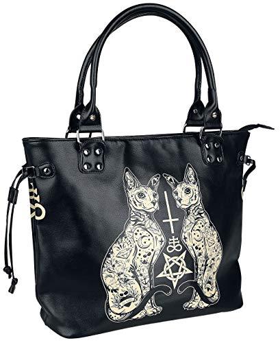 Banned Alternative Esoteric Cat Bag Handtasche schwarz/weiß