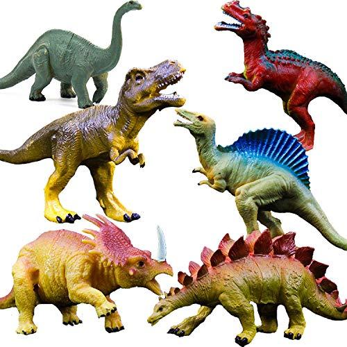 """OuMuaMua Juguetes de figuras de dinosaurios realistas - Paquete de 6 """"Juego de dinosaurios de plástico de gran tamaño para 7 niños Educación infantil, incluidos T-rex, Stegosaurus, Monocloniu"""