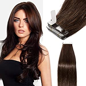Tape in Human Hair Extensions 40pcs 100% Remy Human Hair Straight Skin Weft Hair Extensions (20inch 100g, 40pcs/set, #2 Dark Brown)