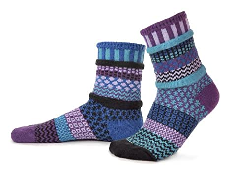 Solmate Socks - Odd or Mismatched Crew Socks for Women or for Men, Made with Recycled Cotton Yarns in USA, Raspberry Large