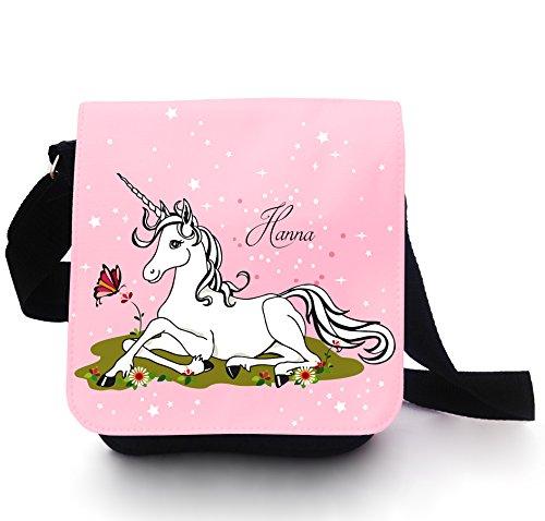 Tasche Kindertasche Handtasche Schultasche Schultertasche Einhorn auf Wiese mit Blumen Schmetterling Sterne Punkte und Wunschnamen kt108