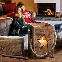 Deko Laterne mit Stern 22cm aus Holz Weihnachten | Windlicht Deko Stern | Geschenkideen | Weihnachtsdeko