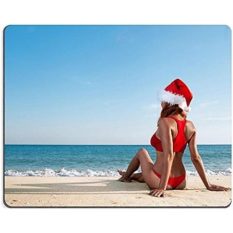 Luxlady gomma naturale Mousepads immagine ID 30975841 cappello di Babbo Natale sexy woman on sea beach