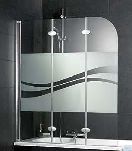 schulte badewannenaufsatz 3 teilig d3354 dekorglas liane profil chromoptik baumarkt. Black Bedroom Furniture Sets. Home Design Ideas