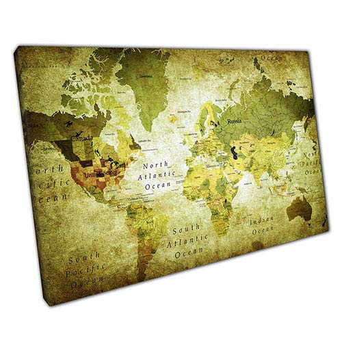 EACanvas Kunstdruck auf Leinwand, Motiv Green Grunge Map of The World, A2-24 x 16 Inch