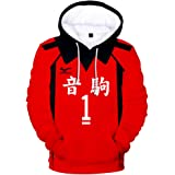 Hooded Sweatshirt,Nekoma High School Long-sleeve Pull Over With Matching Drawstring For Spring Autumn Sport