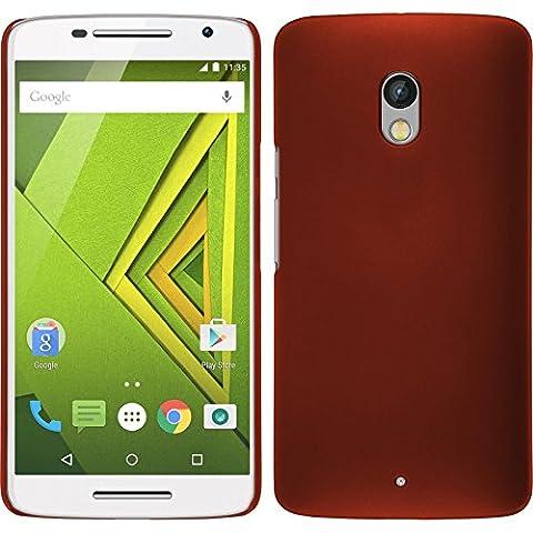 Coque Rigide pour Motorola Moto X Play - gommée rouge - Cover PhoneNatic Cubierta + films de protection