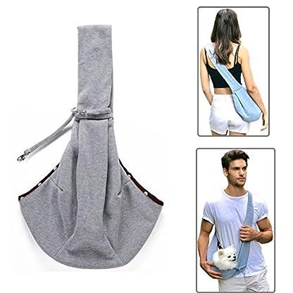 Buyger Reversible Pet Sling Carrier Hand free Puppy Cat Carrier Single Shoulder Bag (Grey) 1