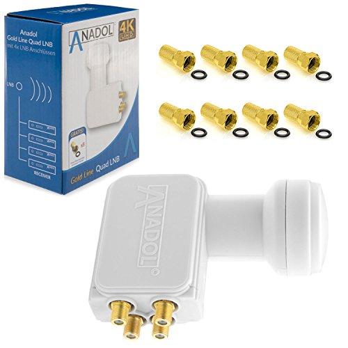 Anadol Gold Line Quad LNB LNC 4 Teilnehmer 0.1dB Direkt Quattro Switch 4fach Full HD TV 3D 4K + Kontakte Vergoldet + Wetterschutz (Ausziehbar) im Set mit 8 F-Stecker Vergoldet Gratis
