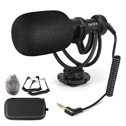 INTEY Richtrohrmikrofon Video Mikrofon, Stereo Kamera Mikrofon mit Stoßfeste Halterung und Tragetasche,Professional für Nikon Canon Kamera, DV Camcorder und Smartphone