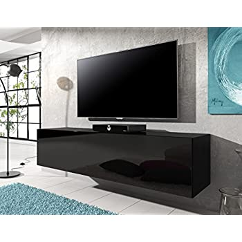 Meuble tv suspendu rocco noir brillant 140 cm for Meuble tv suspendu 100 cm