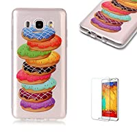 For Samsung Galaxy J710/J7 2016 Case [with Free Screen Protector],Funyye Fashion lovely Lightweight Ultra Slim Anti Scratch Transparent Soft Gel Silicone TPU Bumper Protective Case Cover Shell for Samsung Galaxy J710/J7 2016 - Donut
