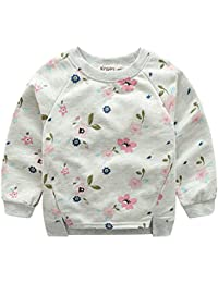 Chinatera Girl's  Floral Print Sweatshirt Long Sleeve Pullover Blouse Tops