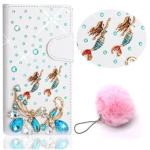 3D Coque iPhone 8 Plus Housse Étui 3 en 1 PU Cuir Case, Vandot Luxe Brillant Diamant Coque Bling Bling Cristal Strass Cover Motif Ange Elf Couverture Magnetic Flip avec Support Stand Wallet Case pour  Diamant 23