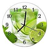 Glasuhr von DekoGlas 30cm runde Bilderuhr aus Acrylglas mit lautlosem Quarzuhrwerk Glaswanduhr Dekouhr Uhr Wanduhren aus PMMA Küchenuhr Glasbilder Wanddekoration Limette grün