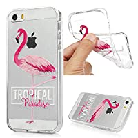 iPhone 5 Case, iPhone 5S Case, iPhone SE Case MAXFE.CO Soft TPU Gel Cover Flexible Case Transparent Clear Shock-Absorption Protective Silicone Case for iPhone 5/ 5S/ SE - Flamingo