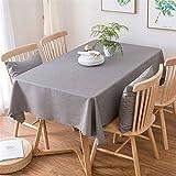 Insun Nappe de Table Lavable Tissu Nappe Coton Lin Moderne pour à Manger de Cuisine Décoration Gris foncé 90x130cm Rectangulaire