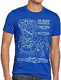 style3 Millennium Falcon Herren T-Shirt blaupause falkon, Größe:S;Farbe:Blau