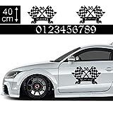 1A Style Sticker Startnummer Aufkleber Auto 40cm - Motiv 22, Racing Rennfahne, Rennflagge Seitenaufkleber Wunsch-Nummern