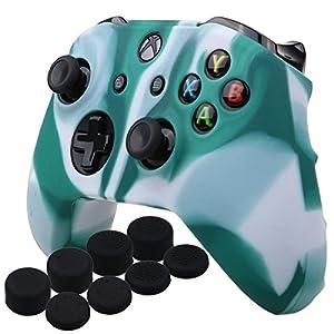 YoRHa Silikon Hülle Abdeckungs Haut Kasten für Microsoft Xbox One X & Xbox One S Controller x 1 (Weiß grün) Mit Pro…