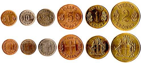 Island 6 MÜNZEN GESETZT 1946-1971 UNC ISLÄNDISCHE 1 AURAR - 2 WECHSELN. ALTE AUSLÄNDISCHE MÜNZEN, SAMMLER MÜNZEN FÜR IHRE MÜNZENALBUM, Inhaber DER MÜNZE ODER Medaille Sammlung