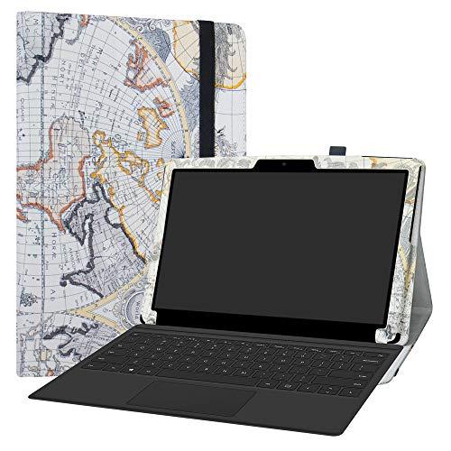 Labanema MEDION AKOYA P3403 Hülle, Slim Fit Folio PU Leder dünne Kunstleder Schutzhülle Cover Schale Etui Tasche für MEDION AKOYA P3403 (12,5 Zoll) Notebook - Map White
