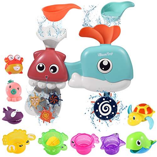 iBaseToy 12 Stück Babybadespielzeug - Wal-Wasserfallstation mit Meerestieren Spritzspielzeug, Starke Saugnäpfe und Drehgestelle für Badespiel - Lehr-Badewannenspielzeug für Kinder (Zufällige Farbe)