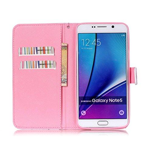 Copertura per Samsung Galaxy Note 5 in pelle, Samsung Galaxy Note 5 Custodia Portafoglio, Note 5 Case Cover, Ukayfe blue Wave-this iphone is locked Design dellunità di elaborazione di vibrazione del  Rosso-Coppia mano nella mano Sunset