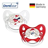 Dentistar® Winter Kollektion Schnuller 2er Set inkl. 2 Schutzkappen - Nuckel Silikon Größe 2 von 6-14 Monate, zahnfreundlich & kiefergerecht - Nuggi für Babys - Bär & Schneemann