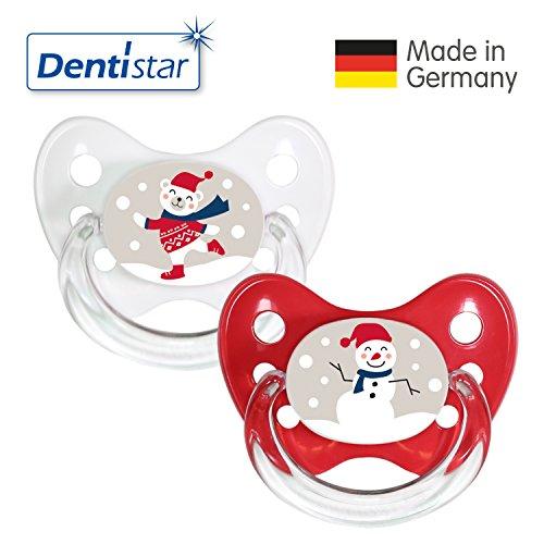 Dentistar® Winter Kollektion Schnuller 2er Set inkl. 2 Schutzkappen - Nuckel Silikon Größe 2 von 6-14 Monate, zahnfreundlich & kiefergerecht - Nuggi für Babys - Bär & Schneemann (Teddy 8 Bär)