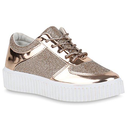 Plateau Sneakers Damen Sneaker Low Glitzer Metallic Sport Strass Turn Lack Animal Print Camouflage Schuhe 122836 Rosa 37 Flandell