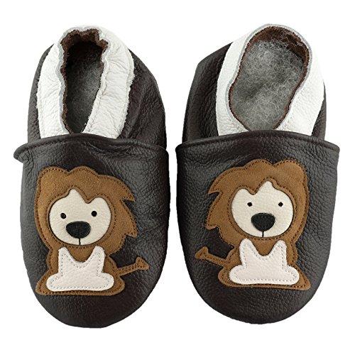 SmileBaby Premium Leder Lauflernschuhe Krabbelschuhe Babyschuhe Schwarz Löwe 6 bis 12 Monate