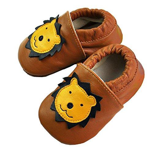 Vesi-Chaussures Bébé Cuir Souple Chaussons Premiers Pas Respirant pour Garçon Fille Nourrisson Efant Tigre Taille XL:18-24 Mois Lion Marron