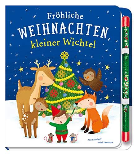 Fröhliche Weihnachten, kleiner Wichtel: Pappbilderbuch mit Zauberstab für Kinder ab 3 Jahren