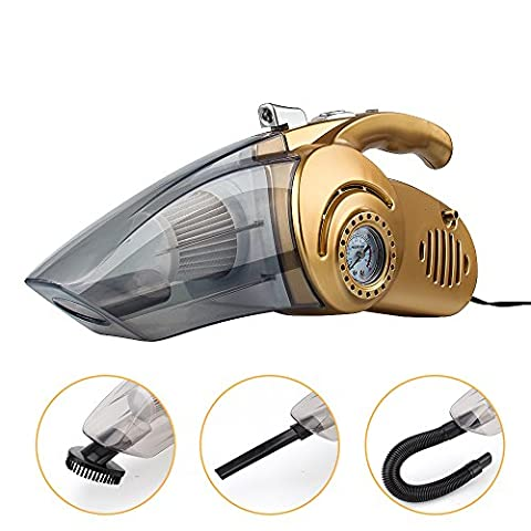 Car Vacuum Cleaner, Portable Handheld Auto Car Vacuum Cleaner Multi-Use Dust Buster Collector Wet/Dry 12V 100W Vacuum Cleaner with Built-in Pressure Gauge, LED Flashlight and Inflator Function