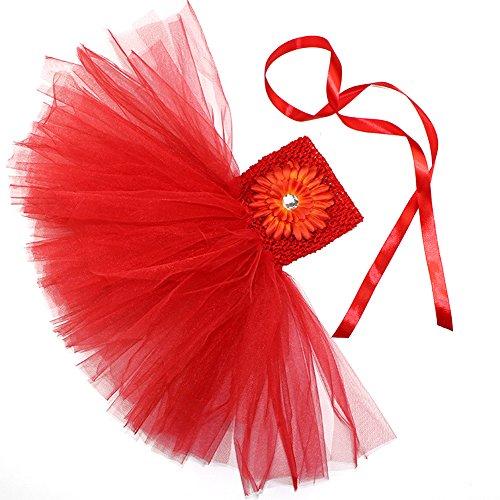 Honeystore Mädchen Spitze Prinzessin Rock Sommer Blumen Kleider für Baby Kleinkinder Kinder 0-2 Jahre alt Small Rot mit (60 Halloween Barbie Kostüm)