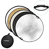 """CRAPHY 43""""/110cm 5-in-1 Handle Collapsible Multi-Disc Round Light Reflector Portable Diffuser Kit with Grip for Photography Photo Studio Lighting (Translucent,White,Silver,Black,Gold)"""