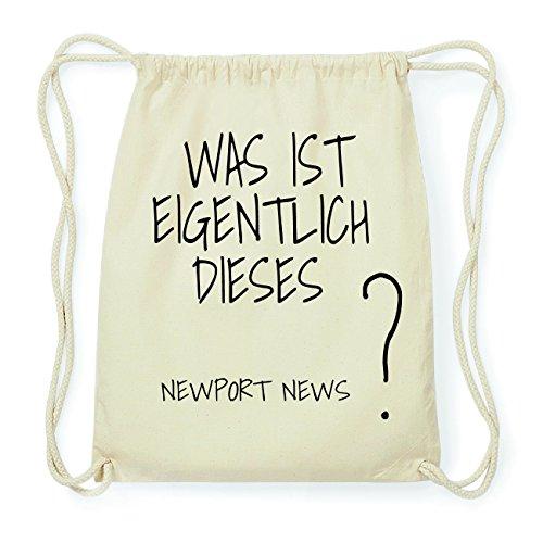JOllify Newport News Hipster Turnbeutel Tasche Rucksack aus Baumwolle - Farbe: Natur - Design: was ist eigentlich - Farbe: Natur