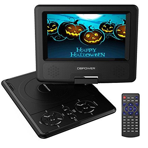 """Reproductor de DVD Portátil de 7.5"""" con Pantalla Giratoria, 5 Horas recargable incorporada de la batería, Compatible con Tarjetas SD y USB, con el cargador del coche y dispositivo de juego - Negro"""