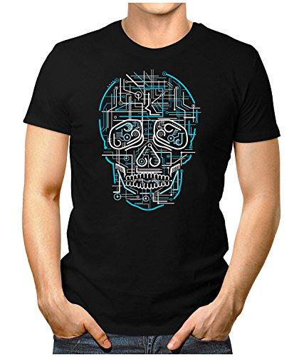 PRILANO Herren Fun T-Shirt - ELECTRO-SKULL - Small bis 5XL - NEU Schwarz