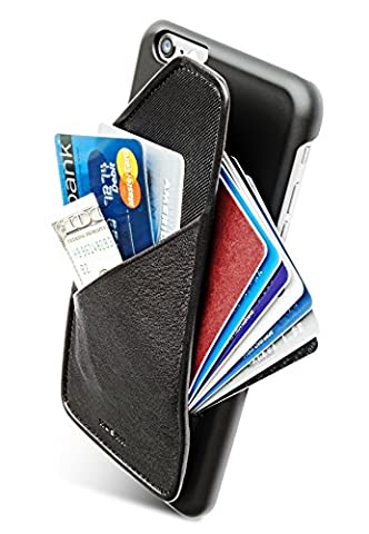 [iPhone 6/6S] Slim Wallet Case - Card Holder for Up to 8 Cards and Cash - Quickdraw by HUSKK - [QDPH6BN] - Ballistic Nylon Leather Black
