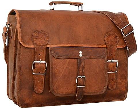 """Cartable en cuir - Gusti Cuir nature """"Leon"""" sac à bandoulière vintage sac ordinateur rétro sac business homme femme cuir de chèvre marron U31 S"""