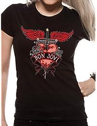 Official Bon Jovi - Heart and Dagger - Ladies Black T Shirt (XX-Large)